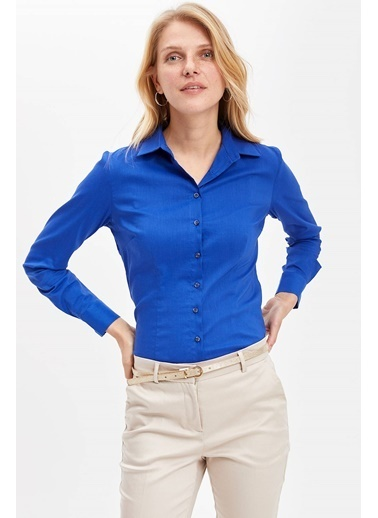 DeFacto Basic Uzun Kollu Gömlek Mavi